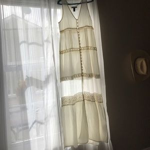romantic white detailed long maxi dress
